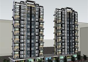 某居住建筑楼设计SU(草图大师)模型素材