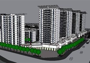 某居住建筑楼群设计SU(草图大师)模型素材