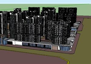 某居住建筑楼群设计SU(草图大师)模型素材1