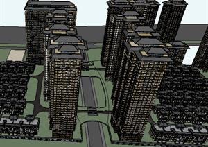 某高层居住建筑楼群设计SU(草图大师)模型素材