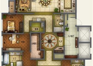 某豪华住宅室内设计高清户型平面图psd格式