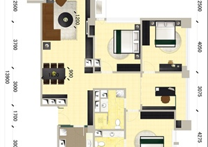某三室一厅住宅室内设计PSD方案图