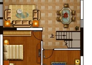 某三室住宅室内设计PSD方案图