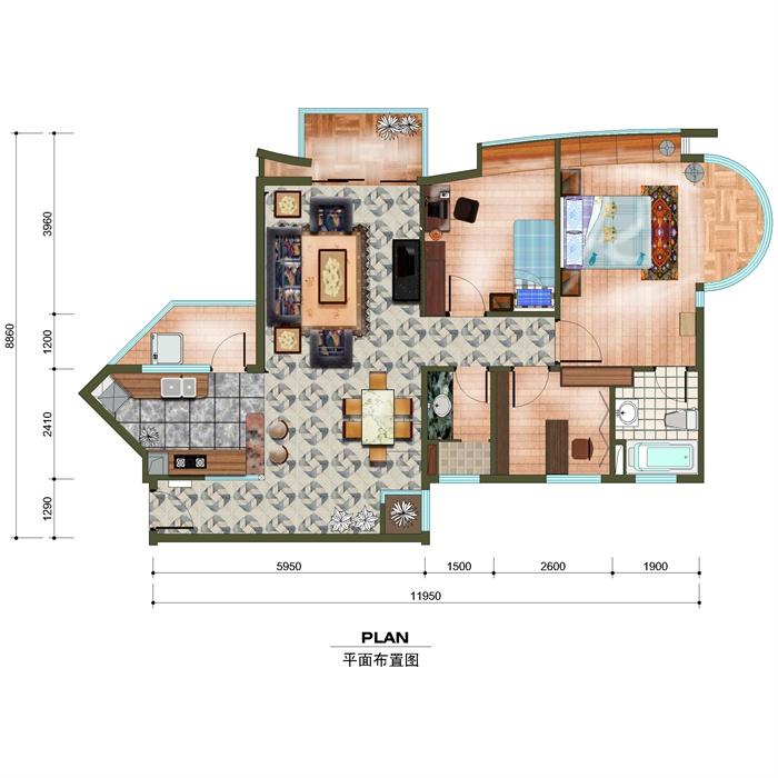 某别墅一楼三室一厅一厨一卫一阳台平面设计图PSD格式