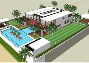 某现代住宅建筑设计SU(草图大师)模型(带景观)
