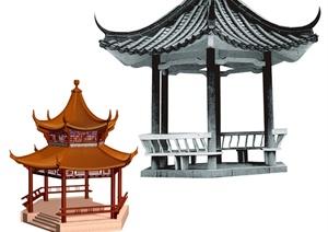 两个凉亭景观设计psd文件