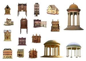 17款景观亭、别墅住宅建筑psd素材