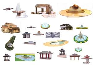 多款凉亭、水景、住宅psd素材
