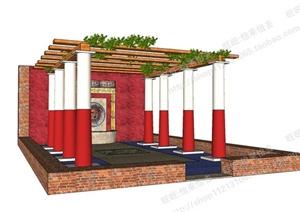 某跌水景观以及廊架组合景观SU(草图大师)模型