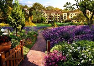 两张别墅住宅花园景观效果图psd格式