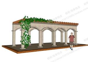 园林景观之廊架设计SU(草图大师)模型8