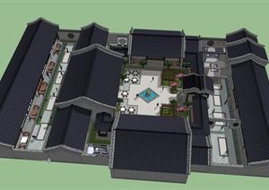某中式古建住宅建筑景观整体SU(草图大师)模型