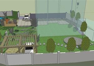 园林景观之现代庭院花园景观设计SU(草图大师)模型