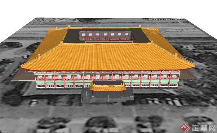 某古典中式酒店建筑设计SU模型(1)