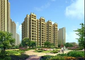 某居住建筑楼设计效果图PSD(含景观设计)