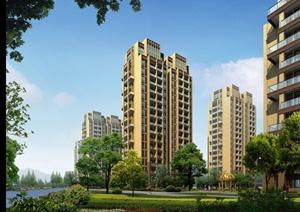 某高层居住建筑景观效果图PSD格式