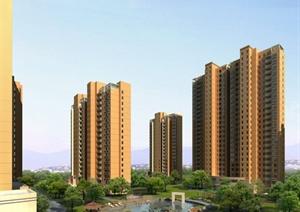 某多栋居住建筑效果图PSD格式